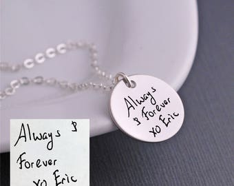 Handwritten Necklace, Silver Handwritten Jewelry, Personalized Wedding Gift for Wife, YOUR OWN HANDWRITING, Anniversary Gift