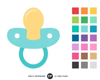 50% OFF SALE! Pacifier Clip Art, Baby Shower Clipart, Nursery Clip Art - Commercial Use, Instant Download
