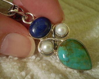 """Turquoise (Natural) Lapis Lazuli (Natural) Pearl (Natural) 925 Antiqued Sterling Silver 18"""" Necklace"""