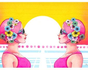 Illustration de style de synchronisée 80 nageurs 8,5 x 11 Giclee Print
