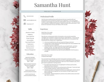 Professional Resume Template for Word and Pages | 1, 2 and 3 Page Resume Template, Icon Set, Cover Letter | Instant Download Resume Template