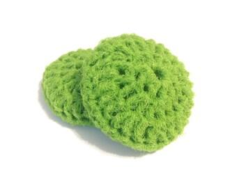 Lime Green Crocheted Nylon Netting Dish Scrubbies-Pair