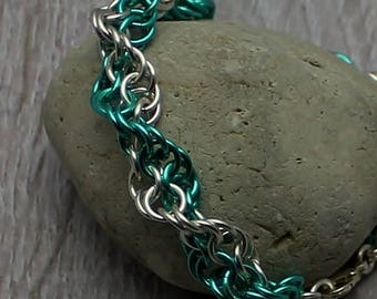 Chainmail Bracelet, Anniversary Gift, Silver Bracelet, Silver Jewelry, Gifts for Women, Handwoven, Spiral Bracelet, Green Bracelet, Artisan