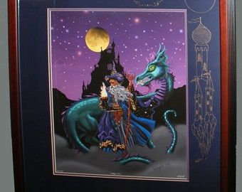Wizard art print. Wizard and dragon. Mage with dragon. Wizard wall art.