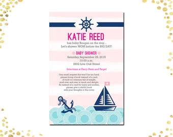 Qty. 25 Girl Baby Shower Invitations Nautical Baby Shower Invitations Girl Nautical Baby Shower Invitations