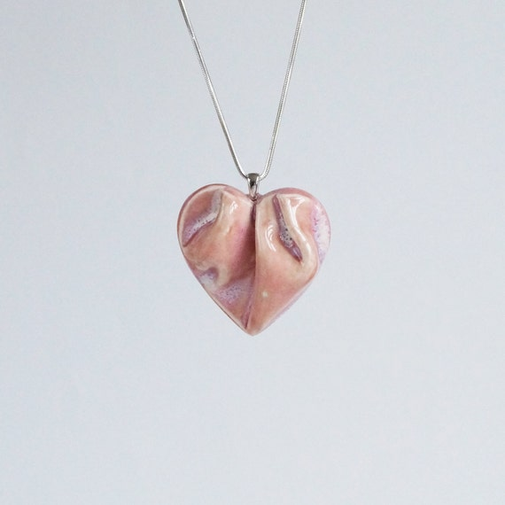 Work of HEART necklace, pink and silver