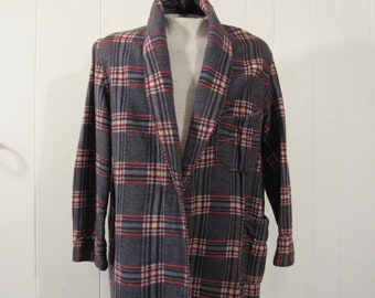 Vintage 1910s robe, cotton plaid, Brent, vintage clothing, medium