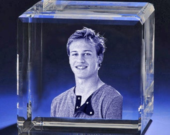 Personalized Laser Photo Crystal Flat Cube,  Pciture Etching  in Glass, Custom 2D or 3D Laser Crystal Engraving by Goodcount