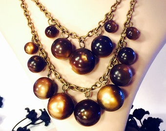 Art Deco tigers Eye Brown Marble Lucite Ball Vintage Cha Cha Bib Festoon Necklace