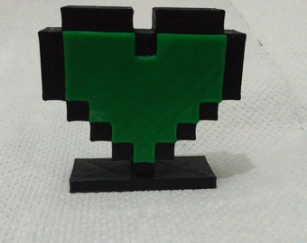 8 Bit Heart, 6cm tall, 3d printed, February 14th gift