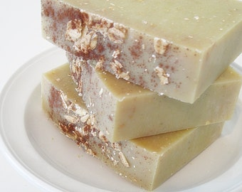 Soap - APPLE CINNAMON & OATMEAL Olive Oil and Silk Handcrafted Naked Soap Slice.