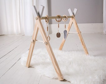 Wooden Play Gym - Grey Baby Gym - Baby Activity Gym - Wooden Baby Play Gym - Activity Gym - Baby Gift - Gender Neutral