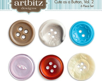 Cute as a Button Vol. 2, Set of 6, Buttons Clip Art Kit, 300 dpi .jpg and .png