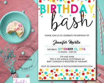 Birthday Party Invitation, Birthday Bash Party Invitation, Editable Birthday Invitation, Printable Birthday Invitation Instant Download,