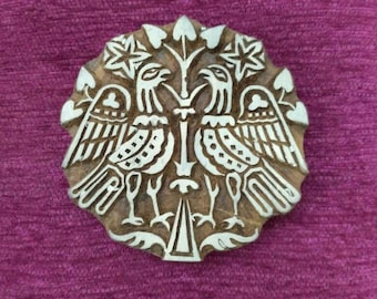 wooden block printing stamp, Textile Stamp, Pottery stamp hand carved wood printing block fabric stamps,byzantine bird medieval stamp