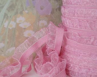 """3yds Stretch Ruffle Ribbon Pink Organza single side 1/2"""" inch Wide Elastic Trim diy wedding bridal Garter Elastic by the yard"""