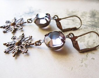 Lavender Snowflake Earrings / Vintage Assemblage Jewelry / Boho Chic / Mori Girl