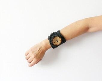 Crochet Wrist Cuff Greyish Blue Ombre Bracelet With Big Coconut Button Textile Bracelet