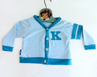 Custom Lettered Retro Baby Toddler Varsity Sweater - Blue