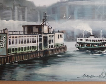 Old Ferry Harbour - Hong Kong; Watercolour Print