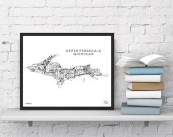 Michigan Upper Peninsula Wall Art   Map Print   Souvenir Gift
