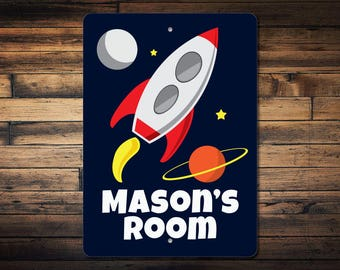 Rocket Sign, Rocket Ship Decor, Space Lover Gift, Planet Sign, Space Decor, Space Shuttle Sign, Custom Space Gift-Quality Aluminum ENS100049