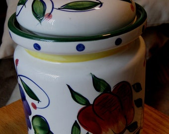 Tuscany Ceramic Sugar  Coffe or  Flour Canister Tuscany by JAY Imports/ Ceramic Container Grapes, Pears, Blue Floral,Yellow Band