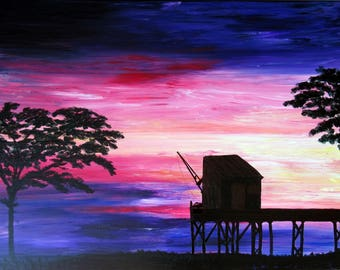 large painting Modern Art, Sunset painting 80x60cm
