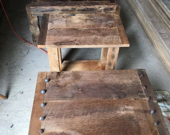 Reclaimed wood end tables made from a one hundred year old barn.