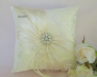 Wedding ring bearer pillow, Ivory or White ring bearer pillow, Lace ring pillow, Ring boy pillow, Sash ring pillow, Wedding pillow