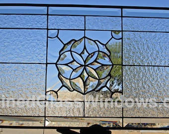 Elegant! Clear Textured & Beveled  Cluster Stained Glass Window Panel (we do custom work, email me for quote)