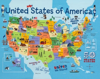 """USA Map Cotton Fabric Panel - Children's Educational - Gender Neutral - United States of America - 50 States - Patriotic - 24"""" x 45"""""""