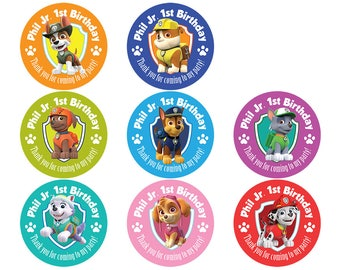 Set of Personalized Birthday Party Girl Boy Paw Patrol Stickers pups Skye Chase Everest Marshall Rubble Zuma Rocky Tracker