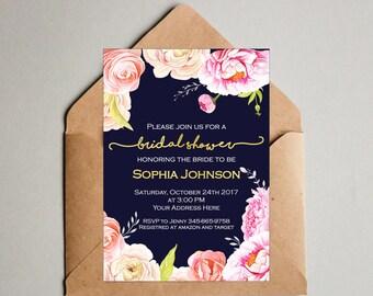 Navy Blue Floral Bridal shower invitation - Roses and peonies - Flower Bridal shower  Invites - Navy Blue and Gold Bridal Shower invitation