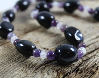 Blackstone Choker Necklace, Amethyst and Moonstone / Gemstone Necklace / Stone Choker / Chunky Necklace / Gifts for Her / Gifts for Women