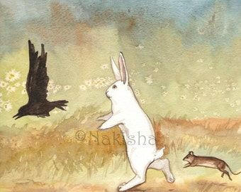 Original Watercolor Rabbit Painting - Little White Rabbit , Crow and Mouse