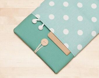 iPad Pro 9.7 case, iPad Air cover, iPad sleeve, padded  - Dots in sage -