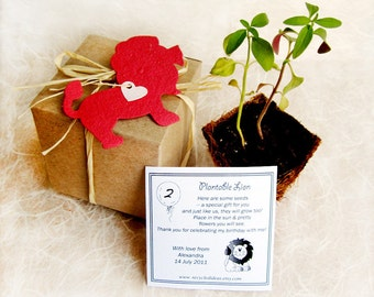 25 Lions Seed Paper Gift Box Kit with Plantable Pots - Plantable Flower Seed Paper Lions Zoo Birthday Party Favors - Zoo Wedding