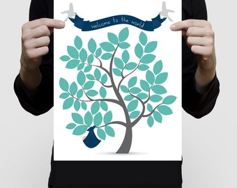 "printed signature baby shower guest book tree 11x14"" print - baby boy with birds nursery art navy blue grey turquoise or custom personalised"