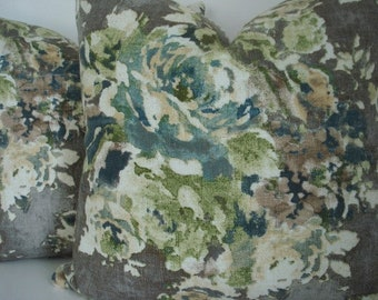 Vintage Look Floral Design- Decorative Designer Pillow Cover -Taupe-Teal-Ivory -Lime- Latte -Citron  Covers