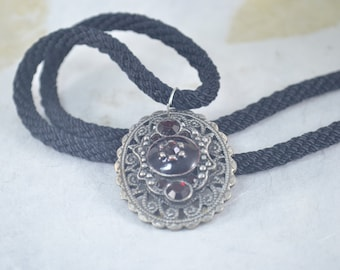 Silver Dark Ruby Oval Pendant Black Braided Kumihimo Necklace - Vintage Style - Goth