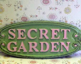 Secret Garden Gate Cast Iron Sign Mint Green Pink Wall Plaque