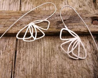 Long Silver Flower Earrings, Silver Flower Earrings, Sterling Silver Earrings, Silver Dangle Earrings, Nature Earrings