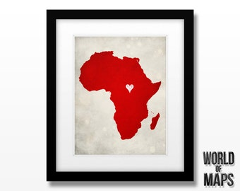 Africa Map Print - Home Town Love - Personalized Art Print Available in Different Sizes & Colors