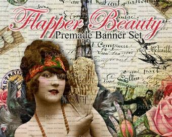 """Shop Banner Set - Premade Banner Set - Etsy Shop Banner Set - Graphic Banner Set - """"Flapper Beauty"""""""