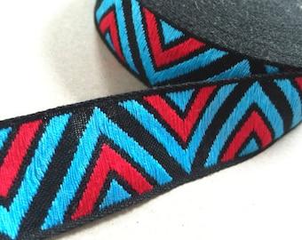 Vintage 70s Ribbon: pattern Red Blue 3 cm x 1 m/1 yard geometric BOX2