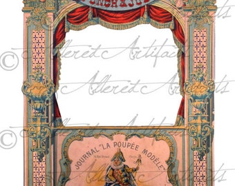 Printable Vintage Punch & Judy Theater Printable Articulated Puppet Antique Paper Doll Theaterl Model Toy Digital Collage Sheet Download