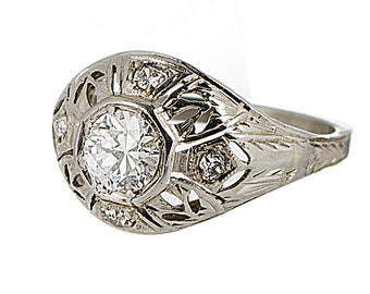 Art Deco 14k white gold .65 carat diamond ring