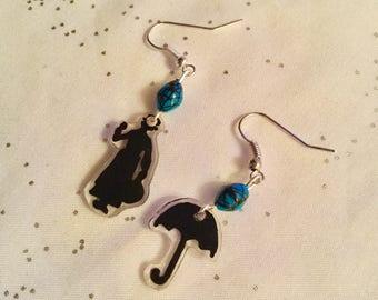 Mary Poppins earrings for pierced ears