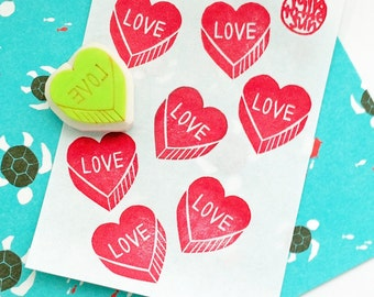 love heart rubber stamp | love stamp | diy wedding birthday valentine card making | gift wrapping | hand carved by talktothesun